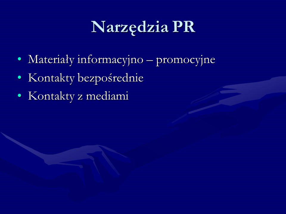 Narzędzia PR Materiały informacyjno – promocyjne Kontakty bezpośrednie