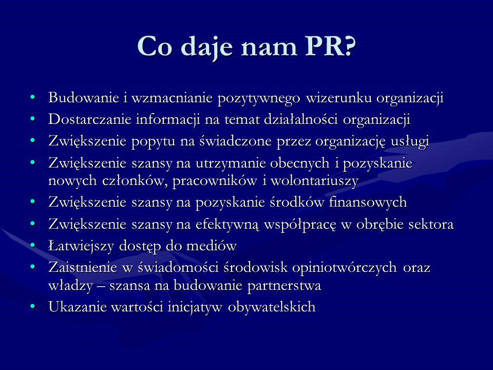 Co daje nam PR Budowanie i wzmacnianie pozytywnego wizerunku organizacji. Dostarczanie informacji na temat działalności organizacji.
