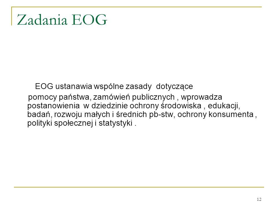 Zadania EOG EOG ustanawia wspólne zasady dotyczące