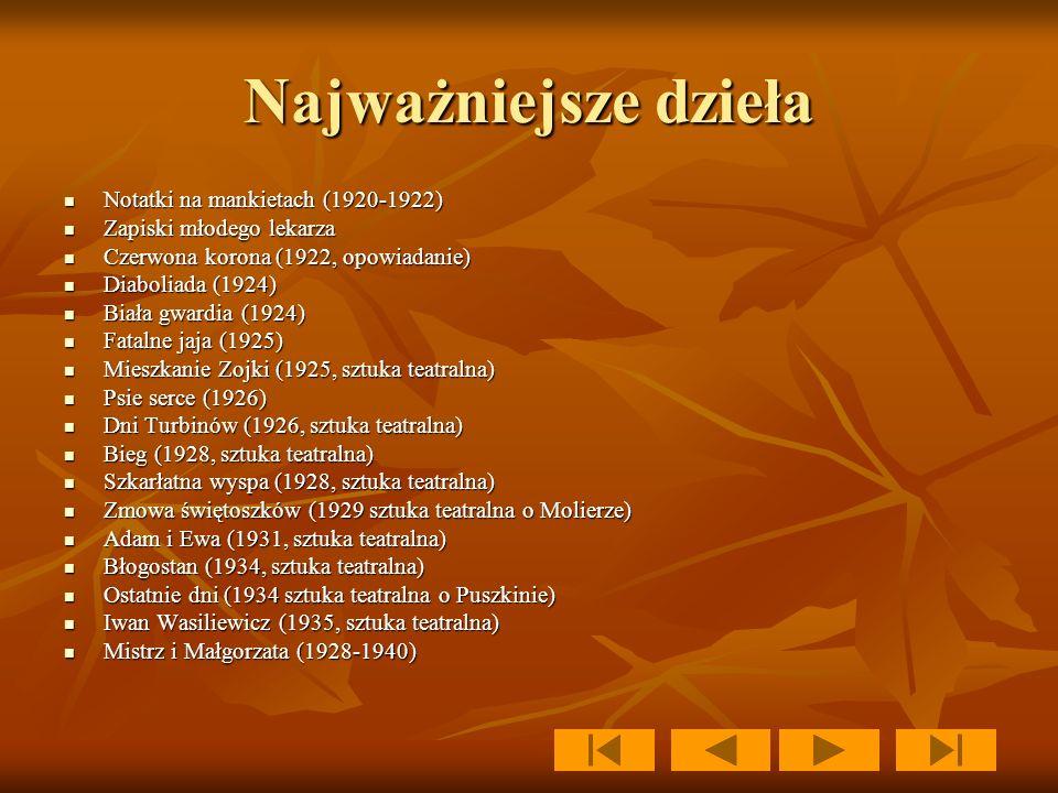 Najważniejsze dzieła Notatki na mankietach (1920-1922)