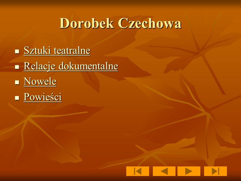 Dorobek Czechowa Sztuki teatralne Relacje dokumentalne Nowele Powieści