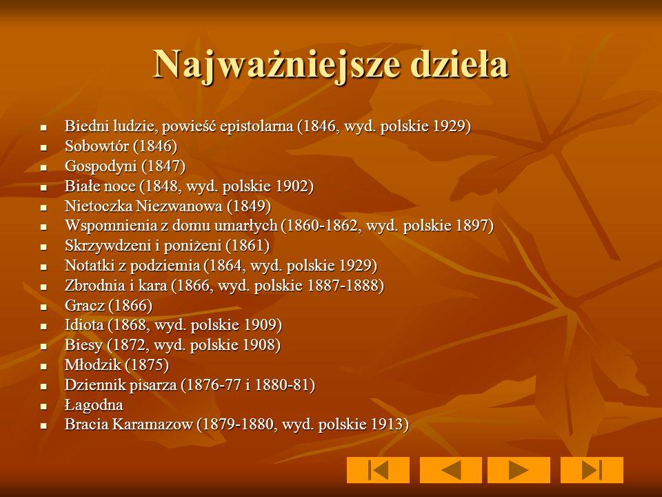 Najważniejsze dzieła Biedni ludzie, powieść epistolarna (1846, wyd. polskie 1929) Sobowtór (1846) Gospodyni (1847)