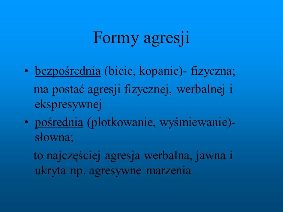 Formy agresji bezpośrednia (bicie, kopanie)- fizyczna;