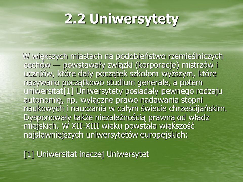 2.2 Uniwersytety