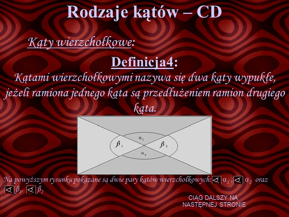 Rodzaje kątów – CD Kąty wierzchołkowe: Definicja4: