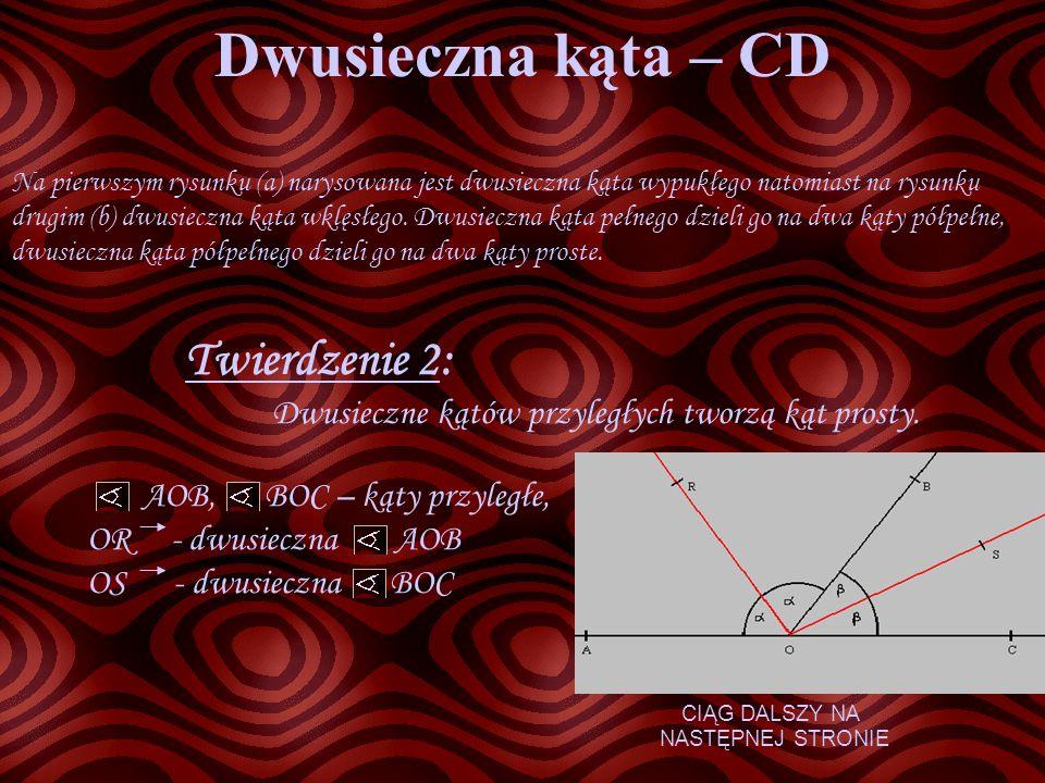 Dwusieczna kąta – CD Twierdzenie 2: