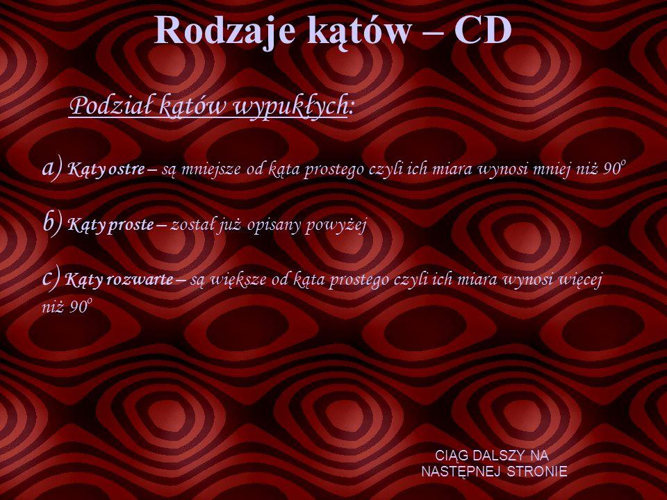 Rodzaje kątów – CD Podział kątów wypukłych: