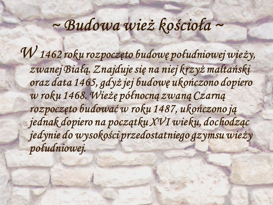 ~ Budowa wież kościoła ~