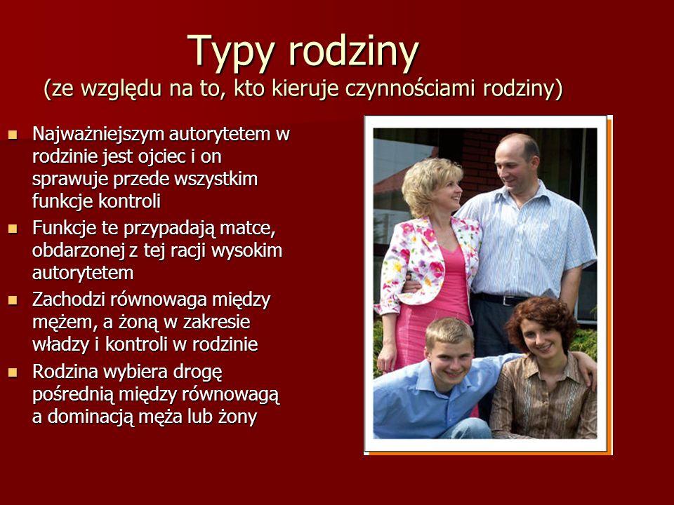 Typy rodziny (ze względu na to, kto kieruje czynnościami rodziny)
