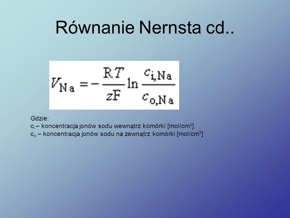 Równanie Nernsta cd.. Gdzie: