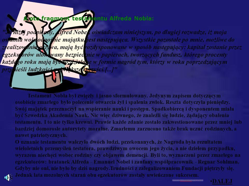 A oto fragment testamentu Alfreda Nobla: