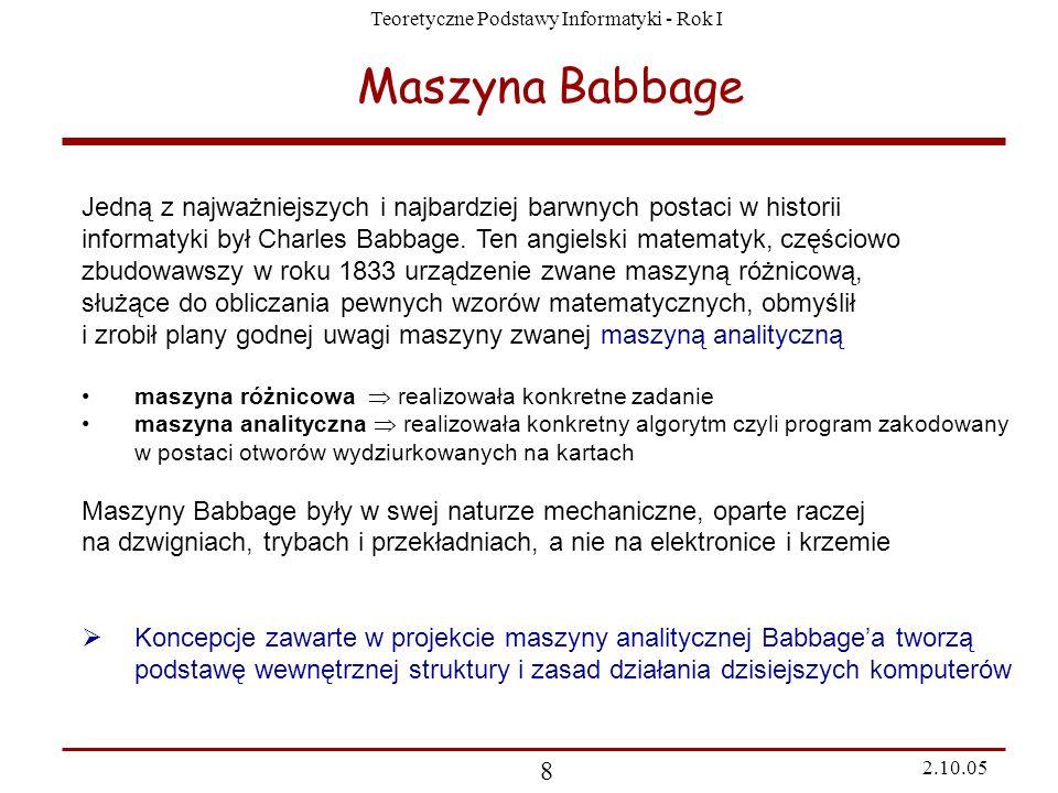 Maszyna BabbageJedną z najważniejszych i najbardziej barwnych postaci w historii.