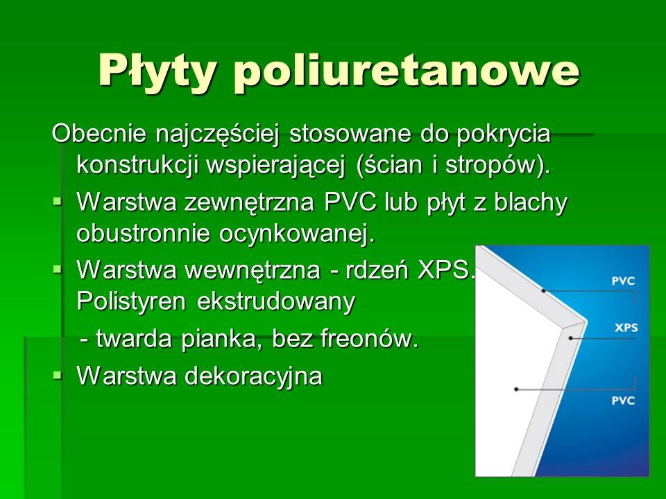 Płyty poliuretanowe Obecnie najczęściej stosowane do pokrycia konstrukcji wspierającej (ścian i stropów).