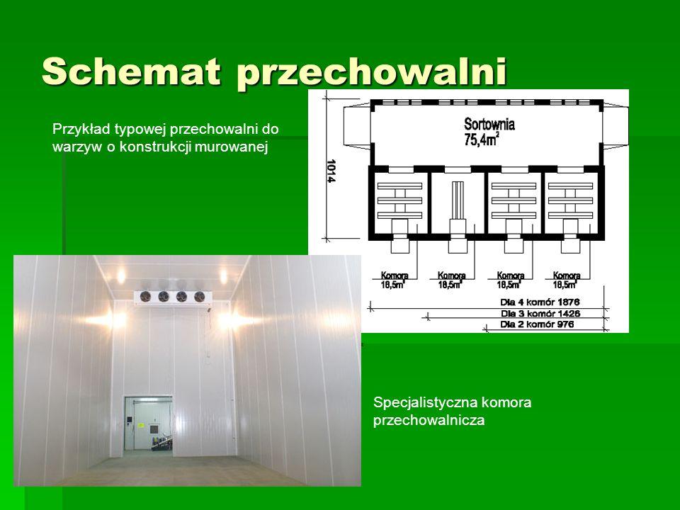Schemat przechowalni Przykład typowej przechowalni do warzyw o konstrukcji murowanej.