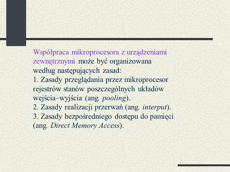 Współpraca mikroprocesora z urządzeniami zewnętrznymi może być organizowana według następujących zasad: 1.