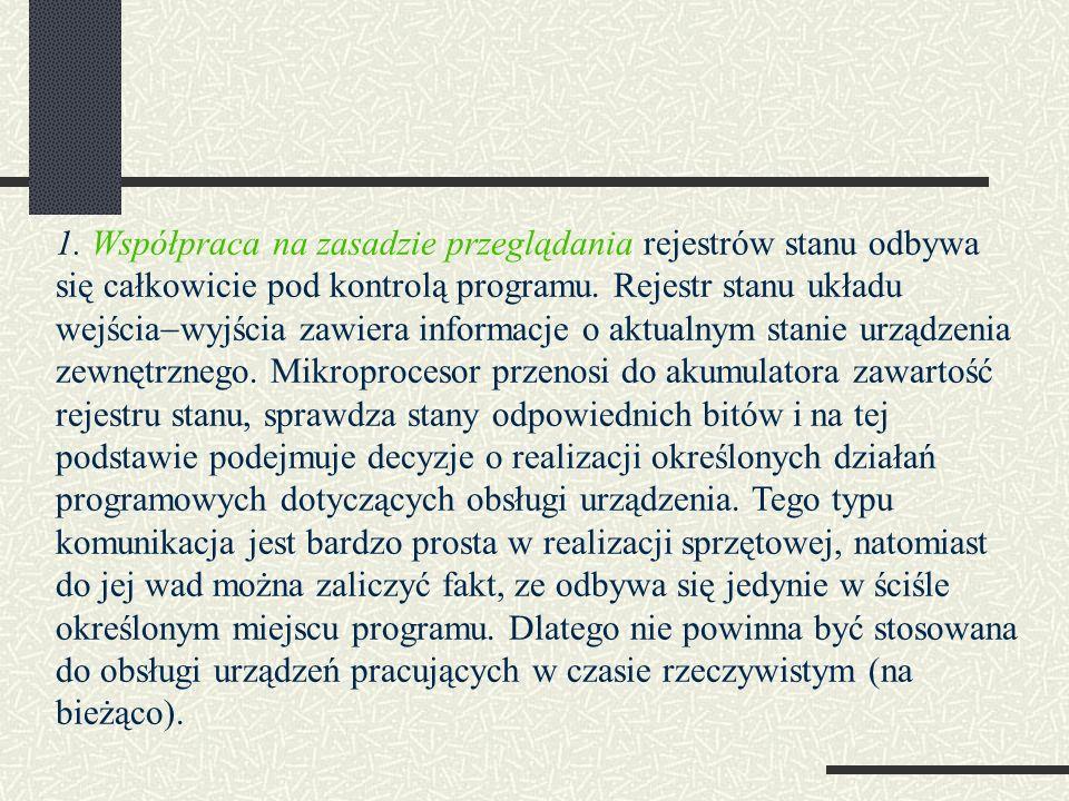 1. Współpraca na zasadzie przeglądania rejestrów stanu odbywa się całkowicie pod kontrolą programu.