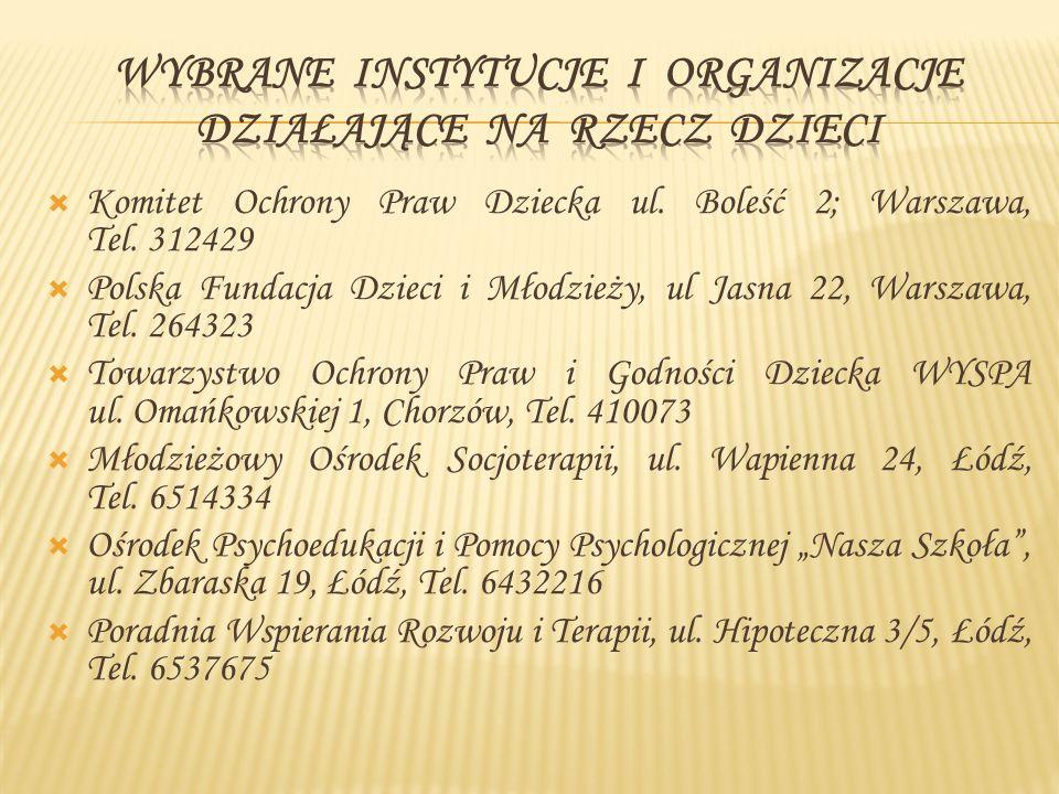 Wybrane instytucje i organizacje działające na rzecz dzieci