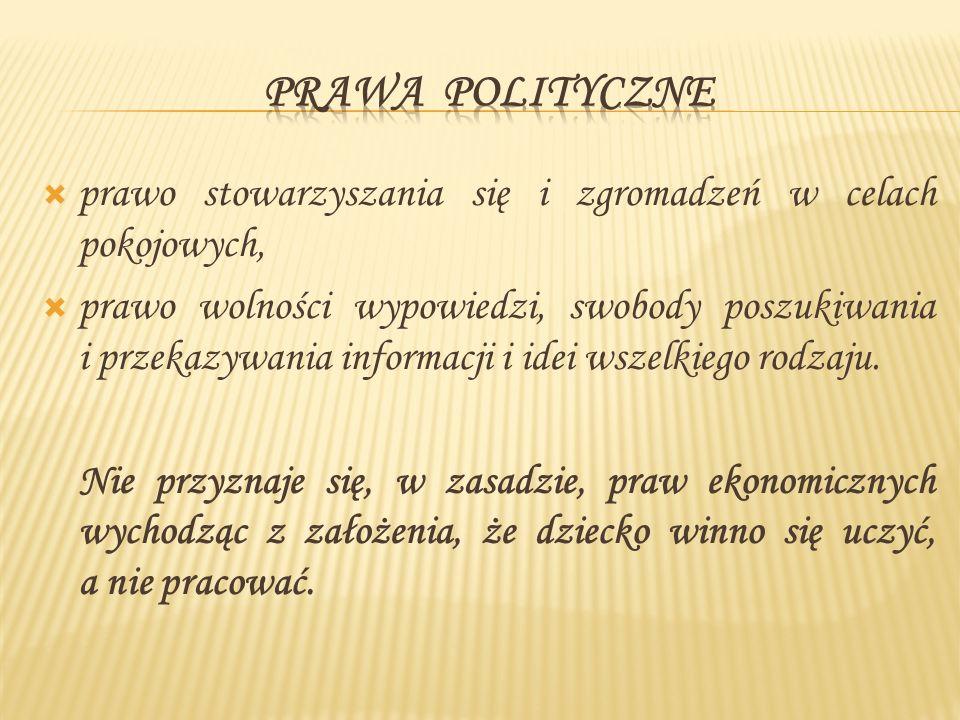 Prawa polityczne prawo stowarzyszania się i zgromadzeń w celach pokojowych,