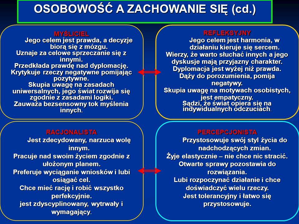 OSOBOWOŚĆ A ZACHOWANIE SIĘ (cd.)