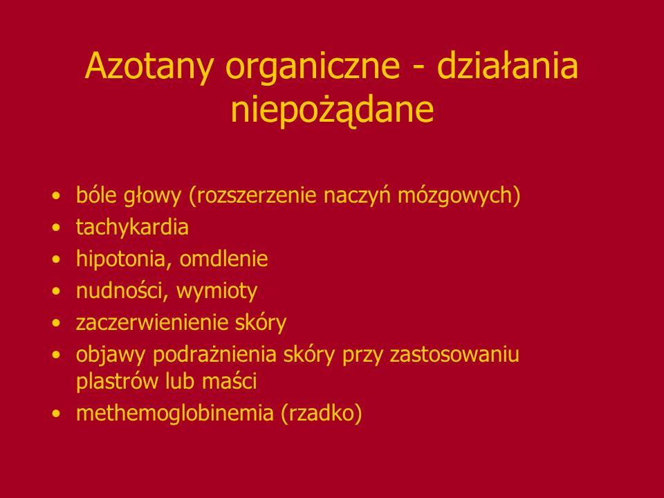 Azotany organiczne - działania niepożądane