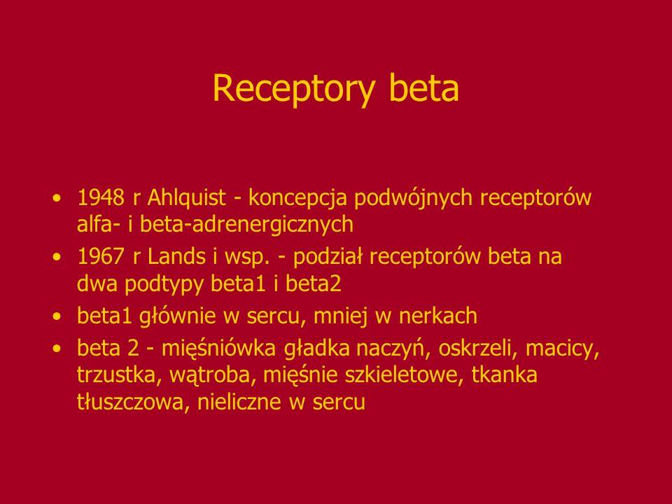 Receptory beta 1948 r Ahlquist - koncepcja podwójnych receptorów alfa- i beta-adrenergicznych.