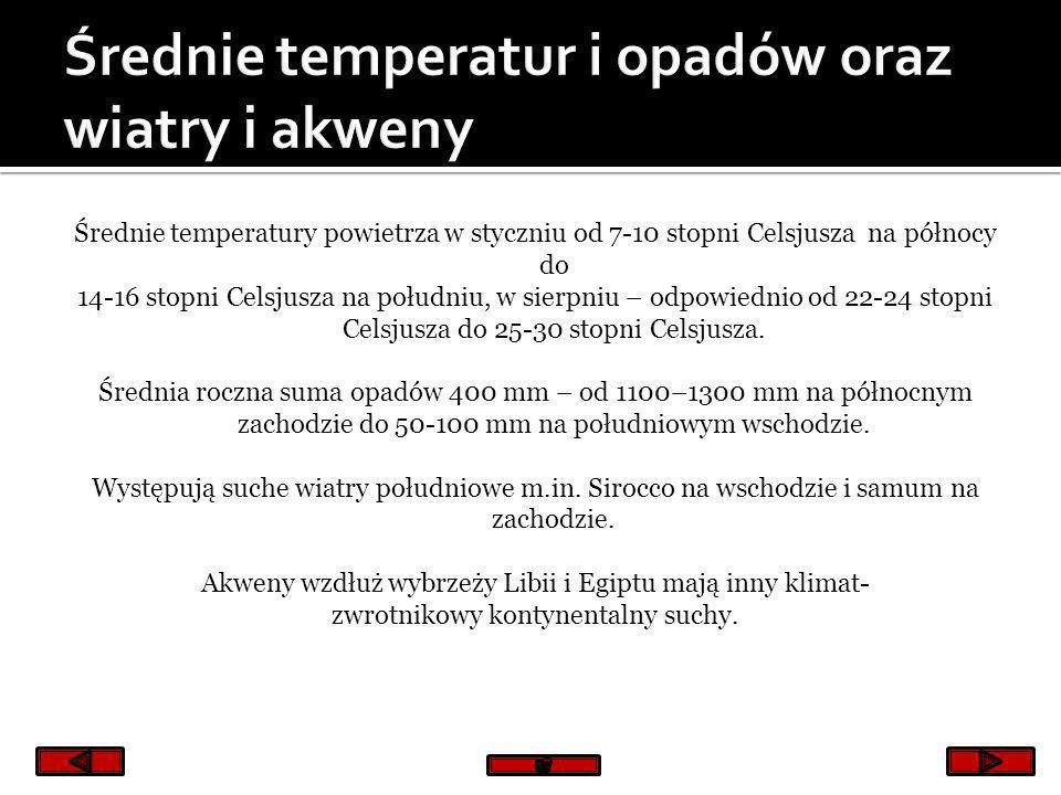 Średnie temperatur i opadów oraz wiatry i akweny