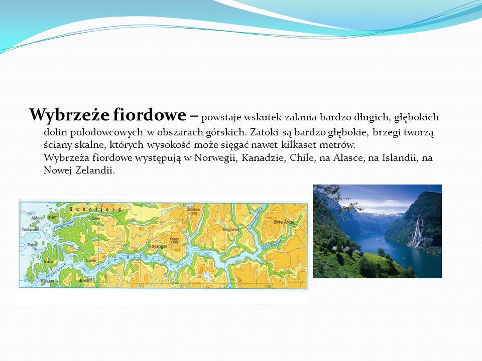 Wybrzeże fiordowe – powstaje wskutek zalania bardzo długich, głębokich dolin polodowcowych w obszarach górskich.