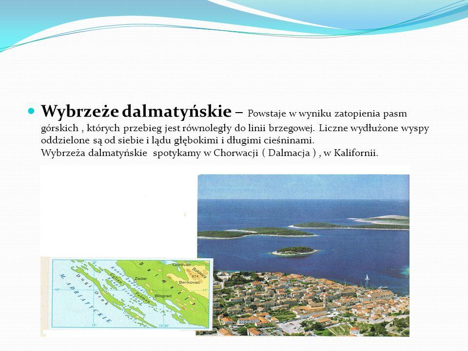 Wybrzeże dalmatyńskie – Powstaje w wyniku zatopienia pasm górskich , których przebieg jest równoległy do linii brzegowej.