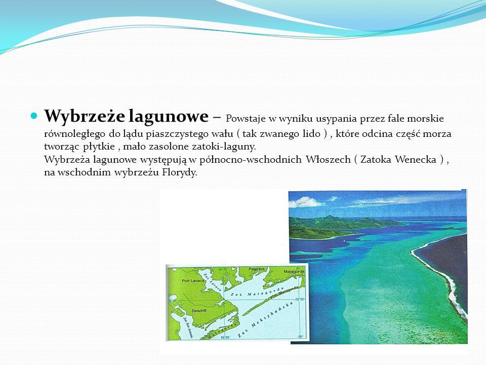 Wybrzeże lagunowe – Powstaje w wyniku usypania przez fale morskie równoległego do lądu piaszczystego wału ( tak zwanego lido ) , które odcina część morza tworząc płytkie , mało zasolone zatoki-laguny.