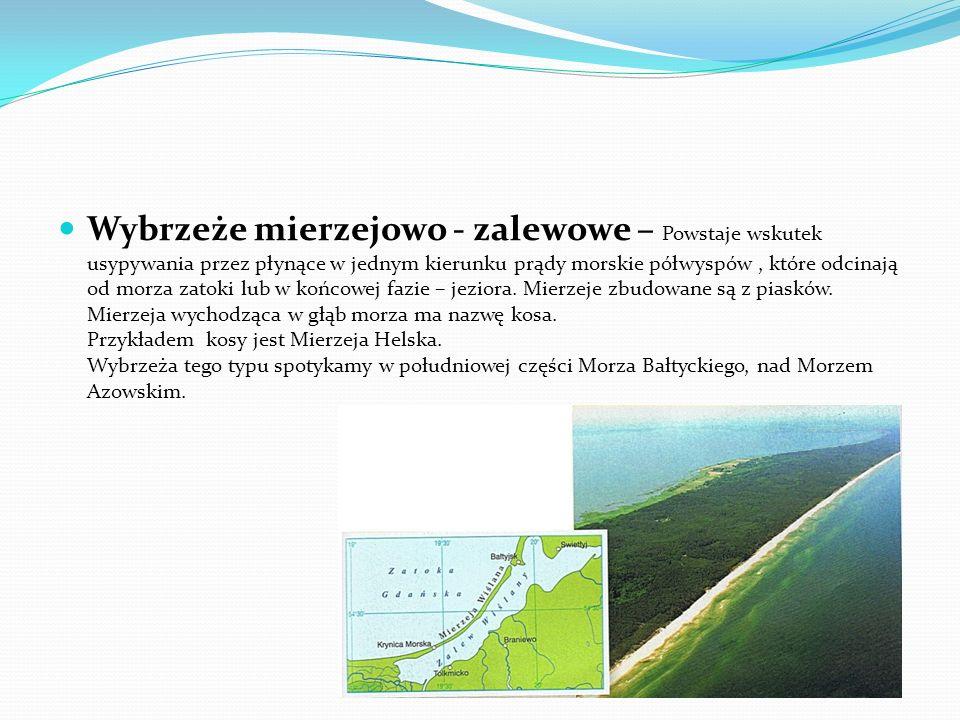 Wybrzeże mierzejowo - zalewowe – Powstaje wskutek usypywania przez płynące w jednym kierunku prądy morskie półwyspów , które odcinają od morza zatoki lub w końcowej fazie – jeziora.