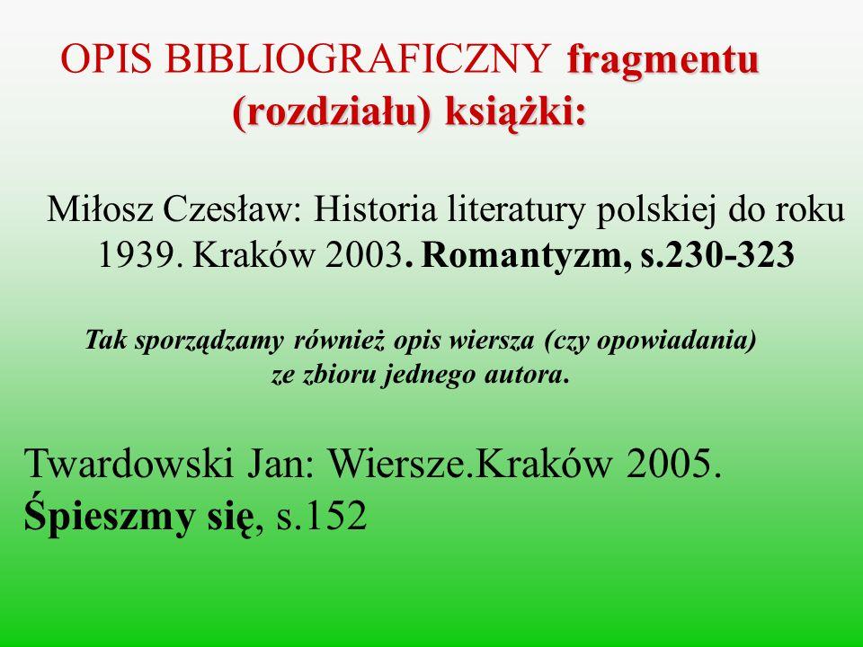 OPIS BIBLIOGRAFICZNY fragmentu (rozdziału) książki: