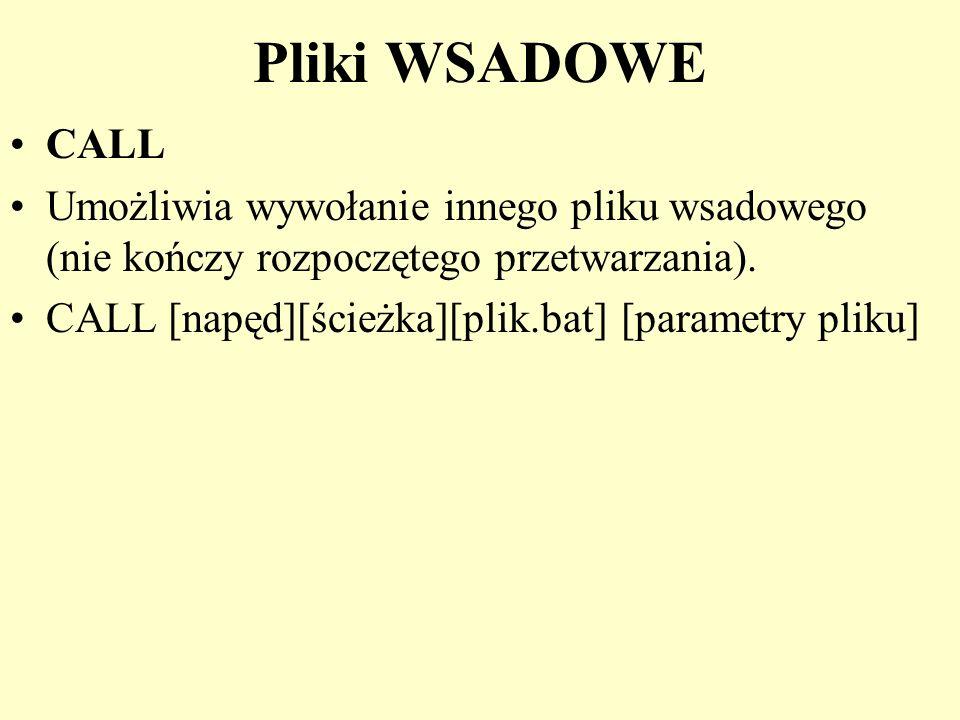 Pliki WSADOWE CALL. Umożliwia wywołanie innego pliku wsadowego (nie kończy rozpoczętego przetwarzania).