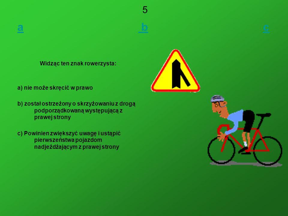 Widząc ten znak rowerzysta: