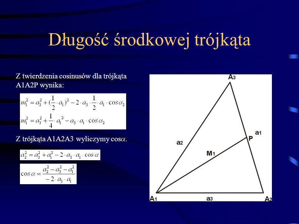 Długość środkowej trójkąta