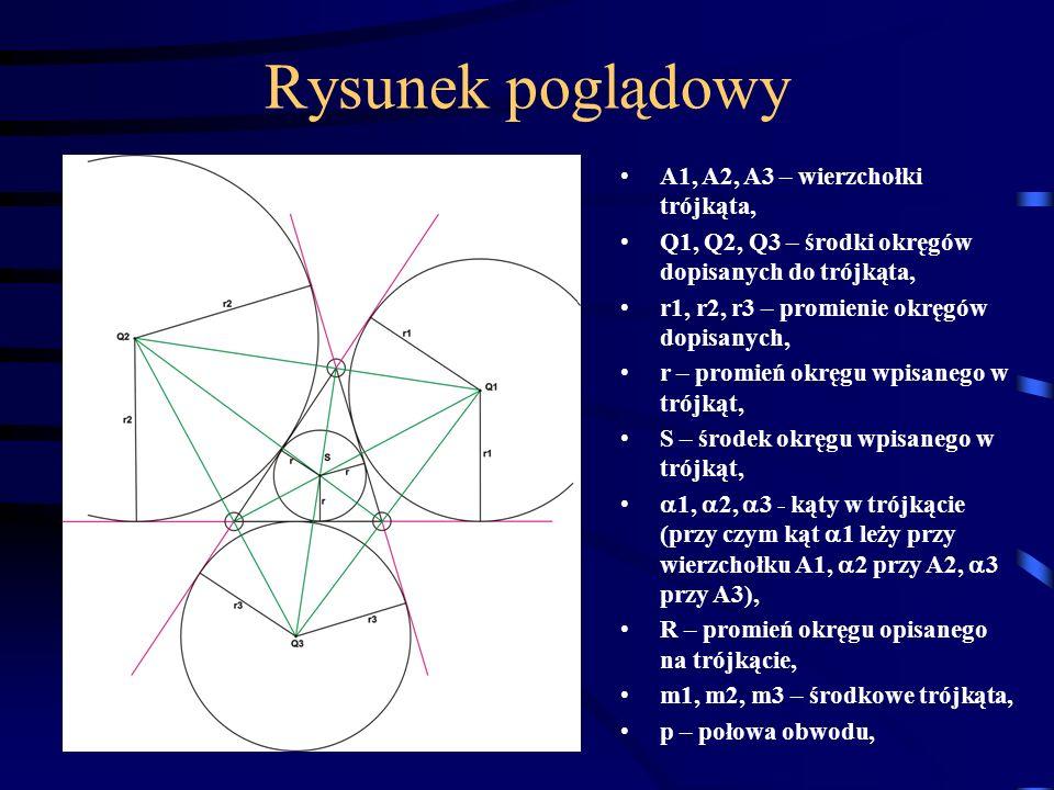 Rysunek poglądowy A1, A2, A3 – wierzchołki trójkąta,