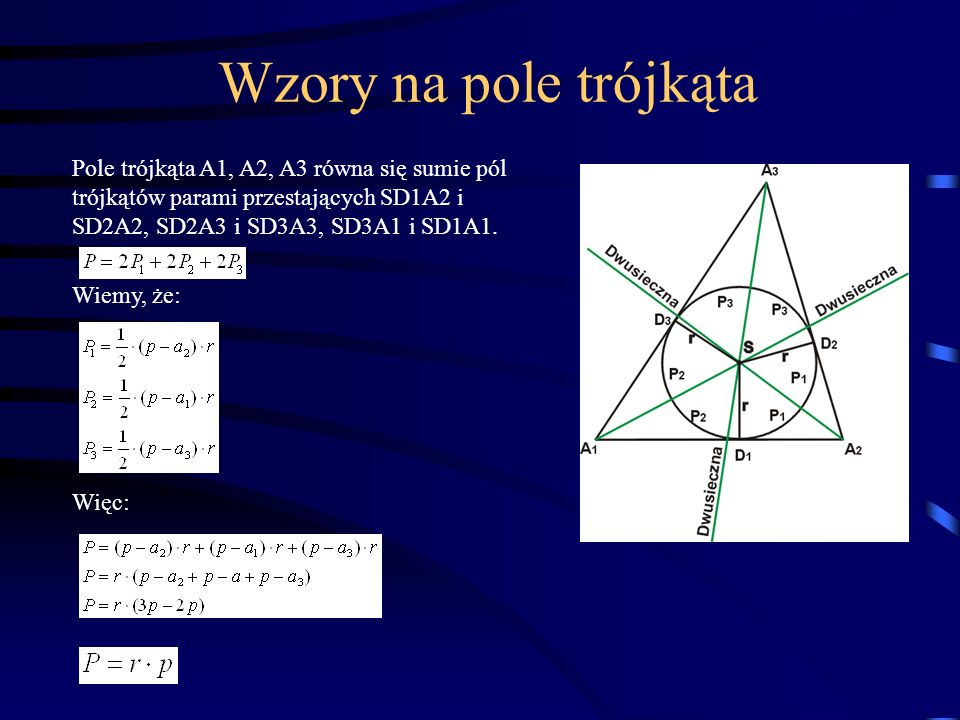 Wzory na pole trójkąta Pole trójkąta A1, A2, A3 równa się sumie pól trójkątów parami przestających SD1A2 i SD2A2, SD2A3 i SD3A3, SD3A1 i SD1A1.