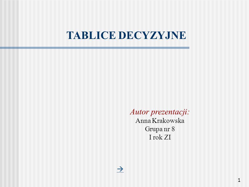 TABLICE DECYZYJNE Autor prezentacji: Anna Krakowska Grupa nr 8