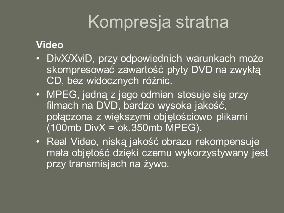 Kompresja stratna Video