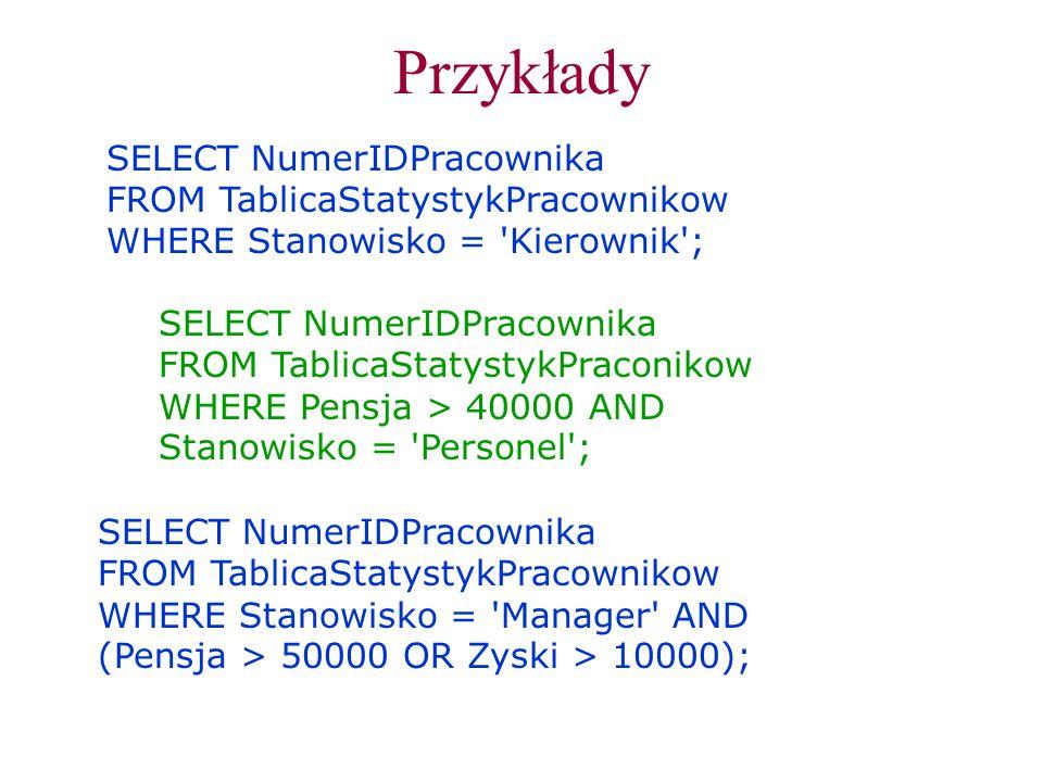 Przykłady SELECT NumerIDPracownika FROM TablicaStatystykPracownikow
