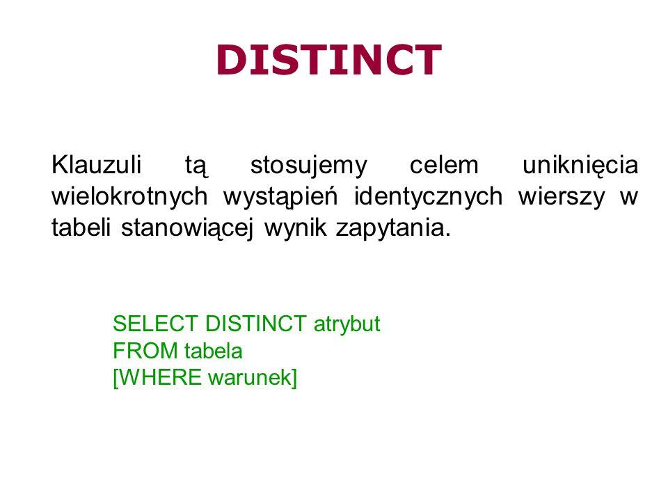 DISTINCT Klauzuli tą stosujemy celem uniknięcia wielokrotnych wystąpień identycznych wierszy w tabeli stanowiącej wynik zapytania.
