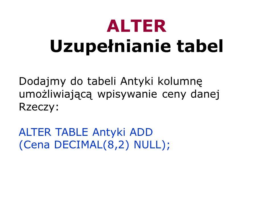 ALTER Uzupełnianie tabel