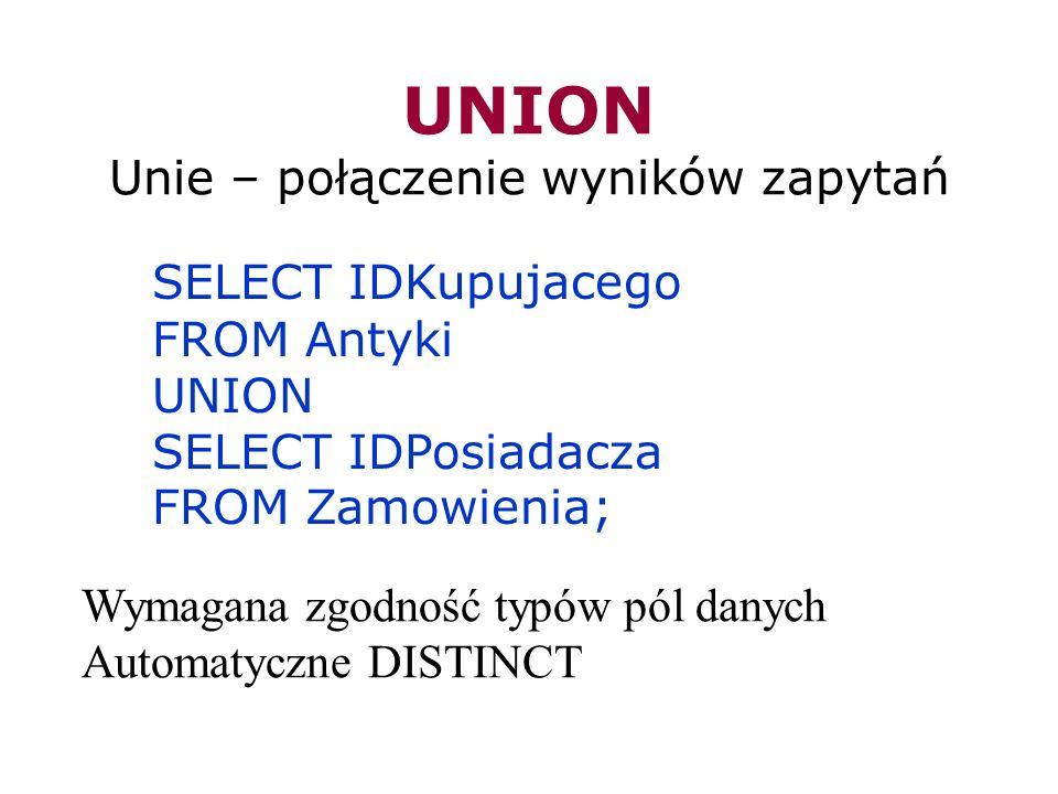UNION Unie – połączenie wyników zapytań