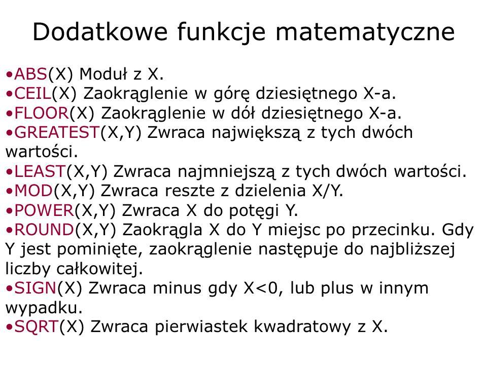 Dodatkowe funkcje matematyczne