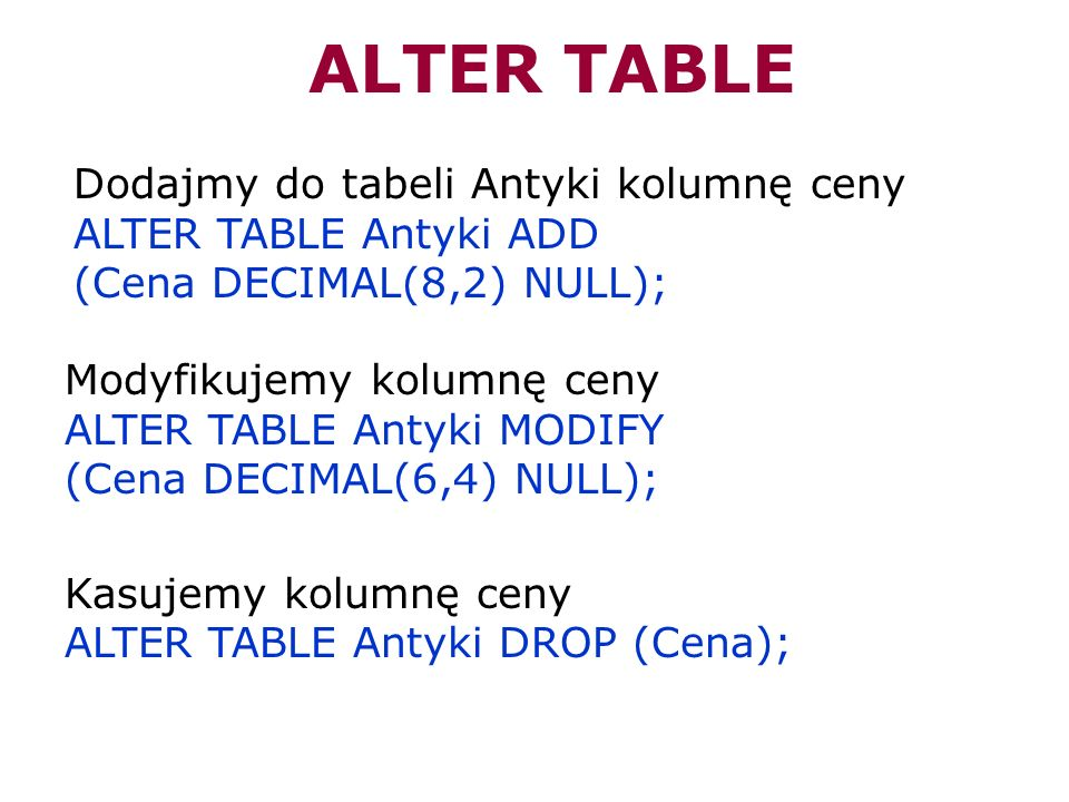 ALTER TABLEDodajmy do tabeli Antyki kolumnę ceny ALTER TABLE Antyki ADD. (Cena DECIMAL(8,2) NULL); Modyfikujemy kolumnę ceny.