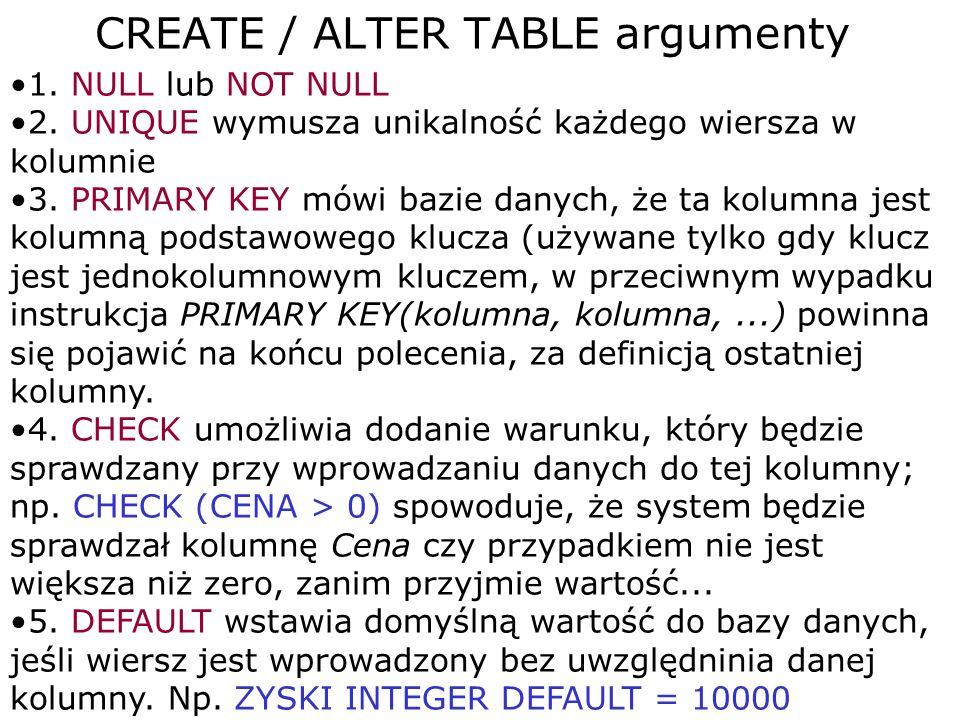 CREATE / ALTER TABLE argumenty