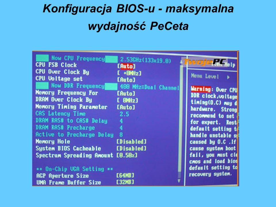 Konfiguracja BIOS-u - maksymalna wydajność PeCeta