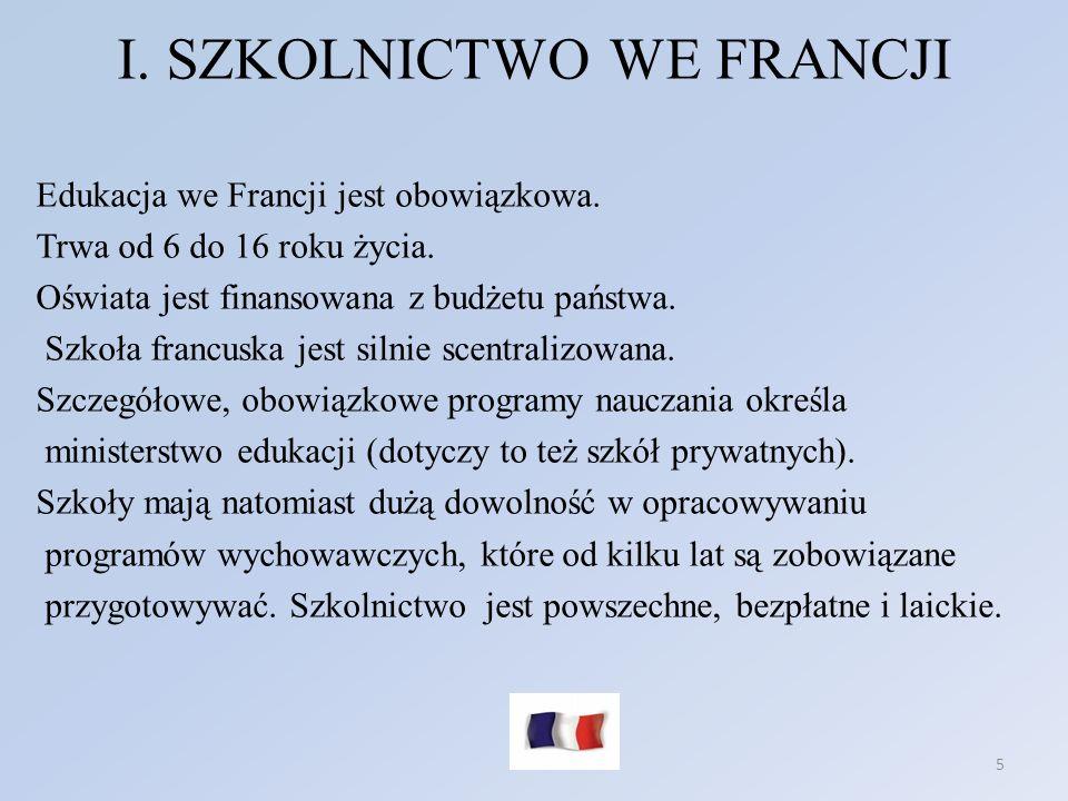 I. SZKOLNICTWO WE FRANCJI