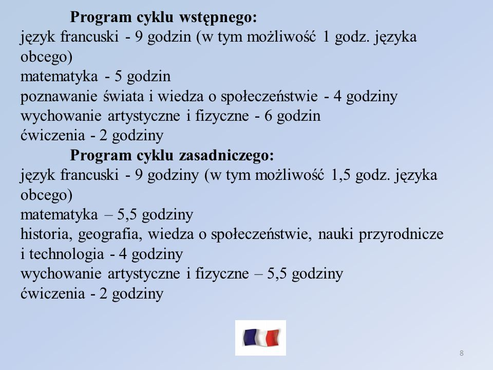 Program cyklu wstępnego: język francuski - 9 godzin (w tym możliwość 1 godz. języka obcego) matematyka - 5 godzin poznawanie świata i wiedza o społeczeństwie - 4 godziny wychowanie artystyczne i fizyczne - 6 godzin ćwiczenia - 2 godziny