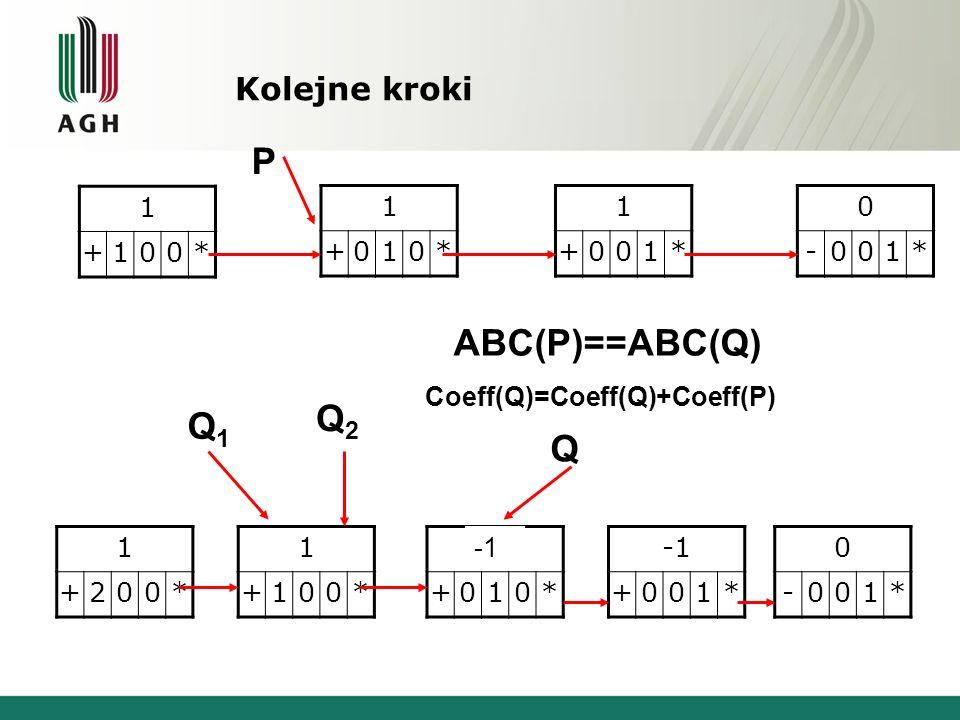 P ABC(P)==ABC(Q) Q2 Q1 Q Kolejne kroki 1 + * 1 + * 1 + * - 1 *