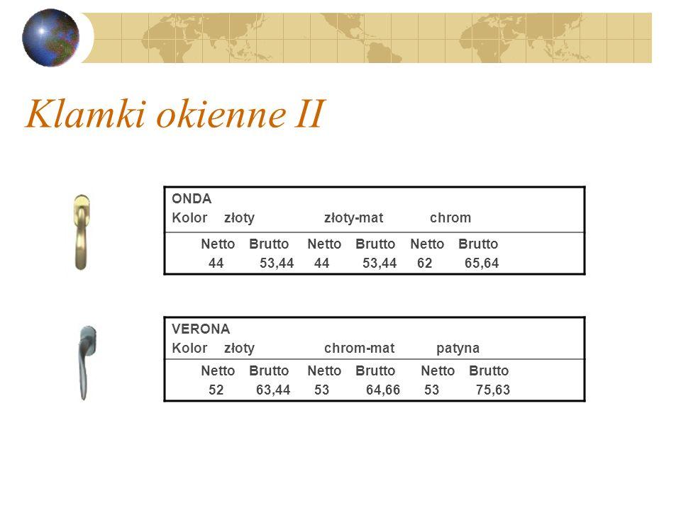 Klamki okienne II ONDA Kolor złoty złoty-mat chrom